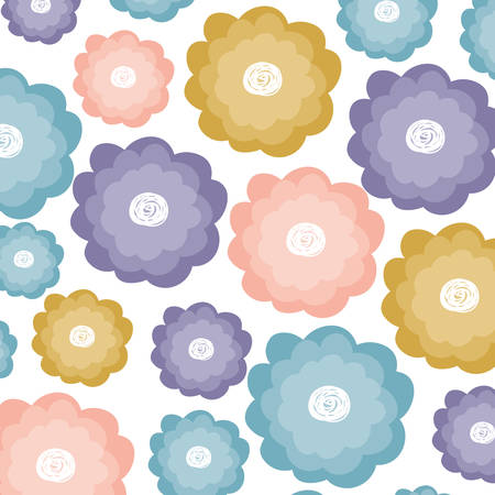 white background with watercolor pattern of flowers vector illustration Illustration