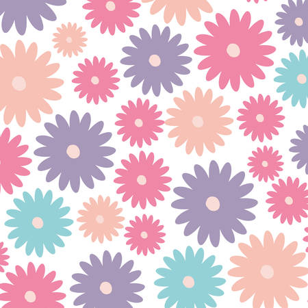 white background with colorful pattern of daisy flowers vector illustration