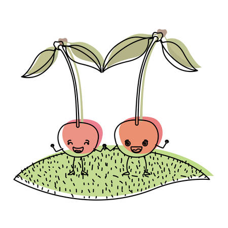 white background with watercolor silhouette of pair of cherry fruits caricature over grass vector illustration