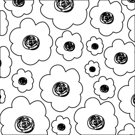 white background with monochrome pattern of flowers vector illustration