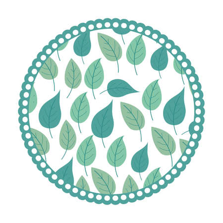 white background with colorful circular frame with pattern of ovoid leaves vector illustration Stock Photo