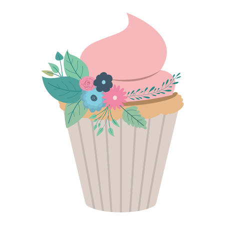 hand drawing color cupcake with pink buttercream and ornament plants decorative vector illustration Illustration