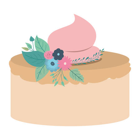 hand drawing color cake with pink buttercream and ornament plants decorative vector illustration