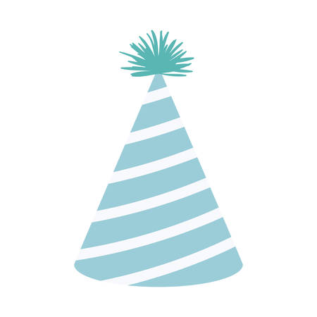 light blue color silhouette party hat with diagonal lines decoratives vector illustration