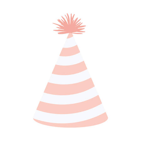 entertaiment: light pink color silhouette party hat with diagonal lines decoratives vector illustration