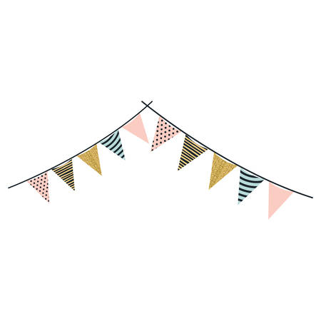 multicolored silhouette decorative pair of pennants party hanging vector illustration