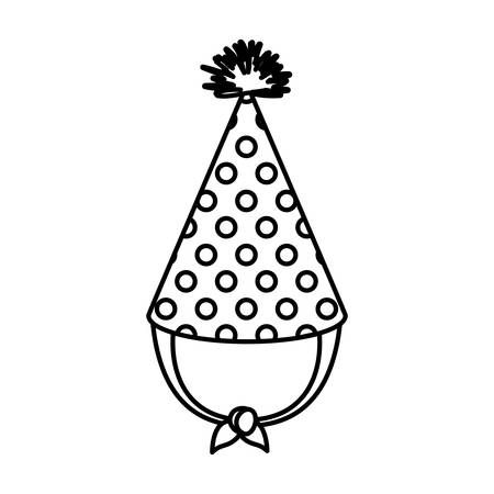 entertaiment: Monochrome silhouette of party hat with circles decoratives vector illustration Illustration