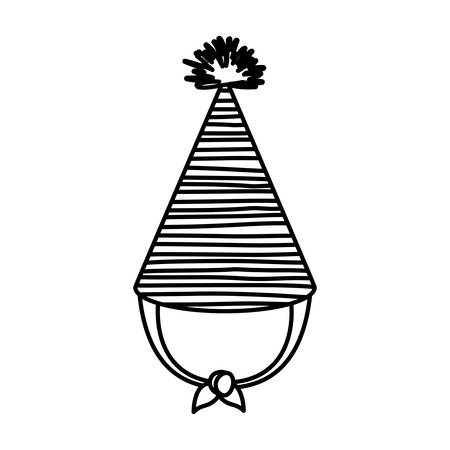 monochrome silhouette of party hat with several decorative lines vector illustration Illustration