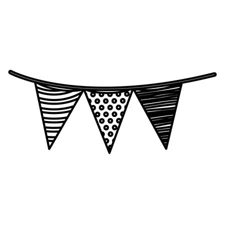 Monochrome silhouette of decorative flags party hanging vector illustration