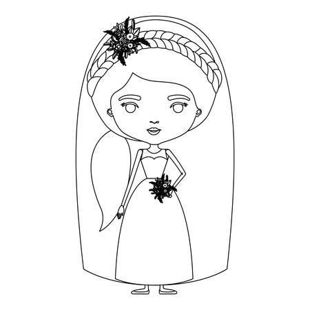 Silhouette caricature of cute woman in wedding dress with ponytail side hair vector illustration