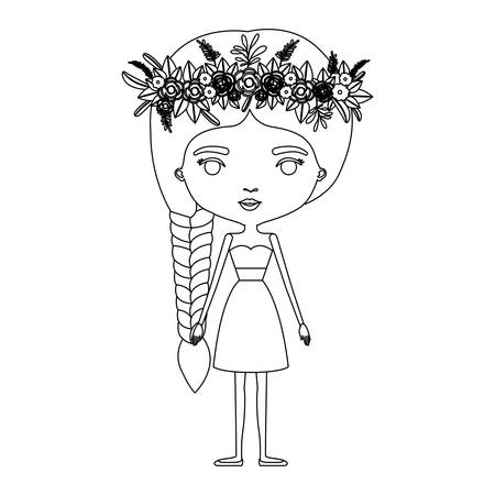 Silhouette caricature of skinny woman in clothes with side braid hairstyle and flower crown accesory vector illustration Illustration