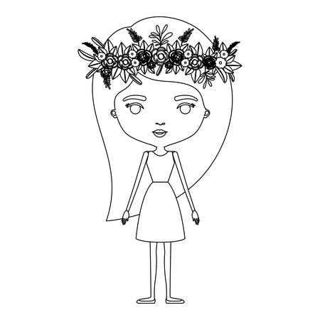 Silhouette caricature of skinny woman in dress with long hairstyle and flower crown accesory vector illustration