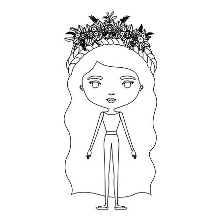 Silhouette caricature of skinny woman in clothes with wavy long hairstyle and flower crown accesory vector illustration