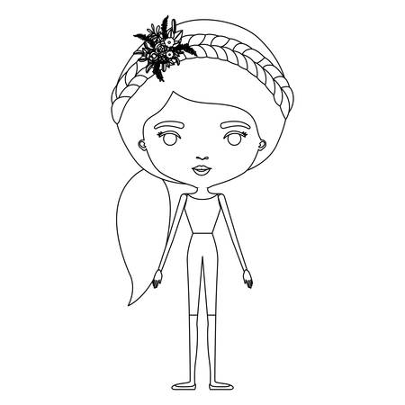 Silhouette caricature of skinny woman in clothes with side ponytail hairstyle and flower crown accesory vector illustration