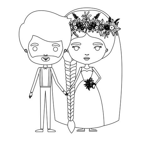 Silhouette caricature newly married couple groom with formal wear and bride with braids hairstyle vector illustration