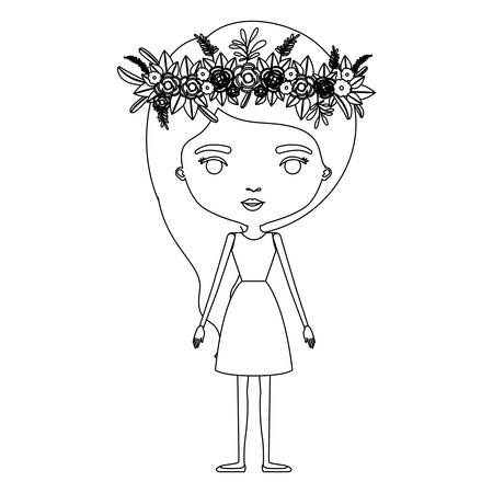 Silhouette caricature skinny woman in dress with wavy side long hairstyle and flower crown accessory vector illustration
