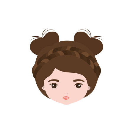 colorful caricature closeup front view face woman with double bun collected and braided hairstyle vector illustration