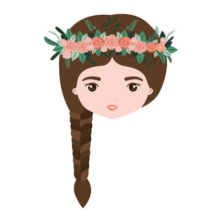 ear bud: colorful caricature closeup front view face woman with braid hairstyle and crown decorate with flowers vector illustration Illustration