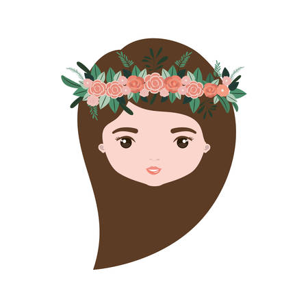 colorful caricature closeup front view face woman with long side hairstyle and crown decorate with flowers vector illustration