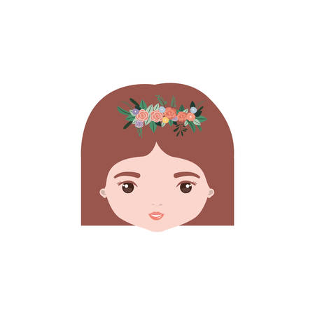 colorful caricature closeup front view face woman with straigh short hairstyle and crown decorate with flowers vector illustration