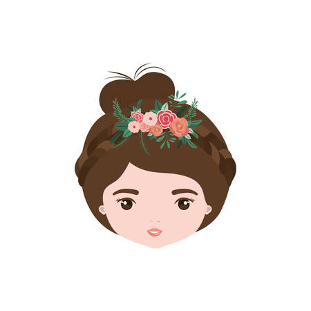 colorful caricature closeup front view face woman with collected hairstyle and braid crown decorate with flowers vector illustration Illustration