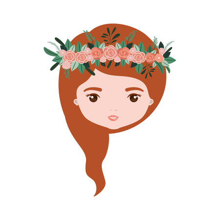 colorful caricature closeup front view face woman with wavy medium red hairstyle and crown decorate with flowers vector illustration Illustration