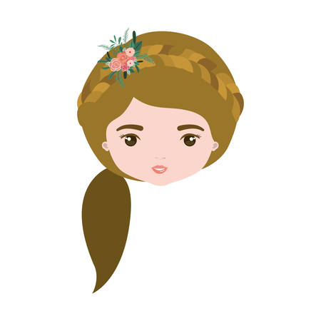 female face closeup: colorful caricature closeup front view face woman with side ponytail hairstyle and braid crown decorate with flowers vector illustration