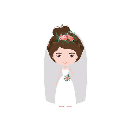 colorful caricature cute woman in wedding dress with collected hair vector illustration Illustration