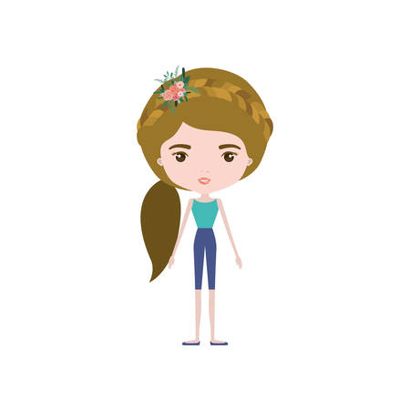 colorful caricature skinny woman in clothes with side ponytail hairstyle and flower crown accesory vector illustration