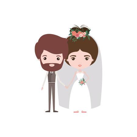 Bunte Karikatur neu verheiratete Paar bärtiger Bräutigam mit formalen Abnutzung und Braut mit Brötchen Frisur Vektor-Illustration Standard-Bild - 82833262
