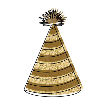 entertaiment: watercolor silhouette of yellow lines party hat with pixel decoratives vector illustration Illustration