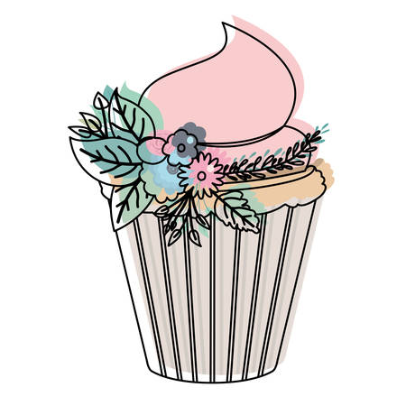 birthday celebration: watercolor silhouette of hand drawing cupcake with pink buttercream and ornament plants decorative vector illustration