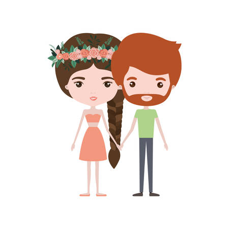 colorful caricature thin couple of bearded man and woman in skirt and top braid hairstyle with flower crown and holding hands vector illustration Illustration
