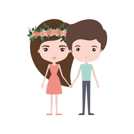 colorful caricature thin couple of man and woman in dress with long hairstyle and crown of flowers decorative vector illustration