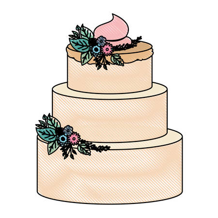 crayon silhouette of hand drawing color three-story cake with pink buttercream and ornament plants decorative vector illustration