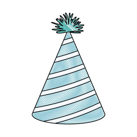 entertaiment: crayon silhouette of light blue color party hat with diagonal lines decoratives vector illustration