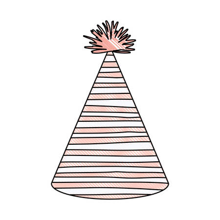 entertaiment: crayon silhouette of pink color party hat with irregular lines decoratives vector illustration