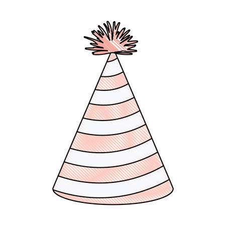 crayon silhouette of light pink color party hat with diagonal lines decoratives vector illustration Illustration