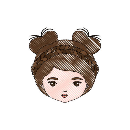 female face closeup: color crayon silhouette caricature closeup front view face woman with double bun collected and braided hairstyle vector illustration