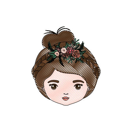 ear bud: color crayon silhouette caricature closeup front view face woman with collected hairstyle and braid crown decorate with flowers vector illustration