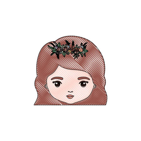 color crayon silhouette caricature closeup front view face woman with wavy short hairstyle and crown decorate with flowers vector illustration Illustration