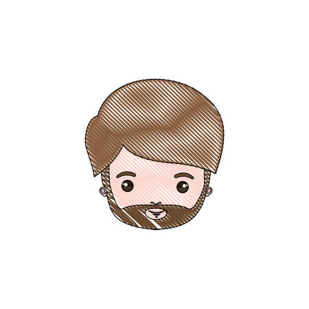 color crayon silhouette caricature closeup front view mature man with beard vector illustration