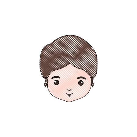 色クレヨン シルエット風刺漫画クローズ アップ正面男きのこ散髪ベクトル イラスト  イラスト・ベクター素材