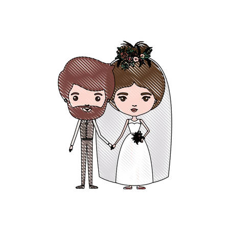 color crayon silhouette caricature newly married couple bearded groom with formal wear and bride with bun hairstyle vector illustration