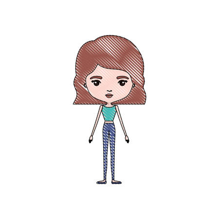 color crayon silhouette caricature skinny woman in clothes with wavy short hairstyle vector illustration Illustration