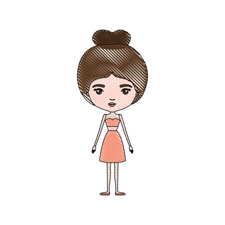 color crayon silhouette caricature skinny woman in clothes with bun hairstyle vector illustration Illustration