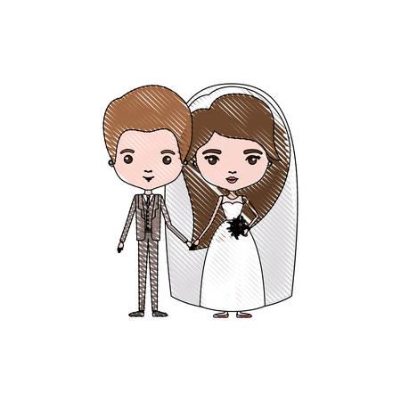 kleur krijt silhouet karikatuur pas getrouwd stel bruidegom met formele kleding en bruid met lang kapsel vector illustratie