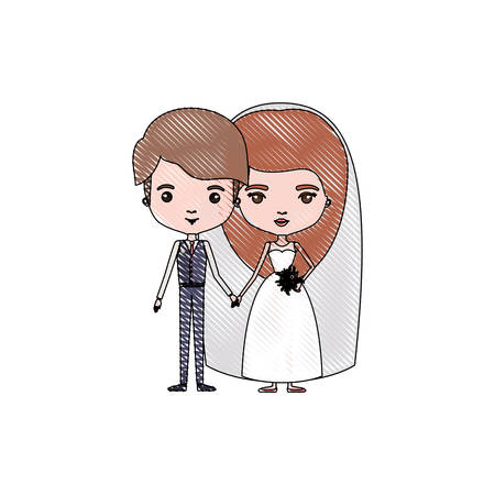 color crayon silhouette caricature newly married couple young groom with formal wear and bride with long hairstyle vector illustration