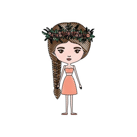 color crayon silhouette caricature skinny woman in clothes with side braid hairstyle and flower crown accesory vector illustration Illustration