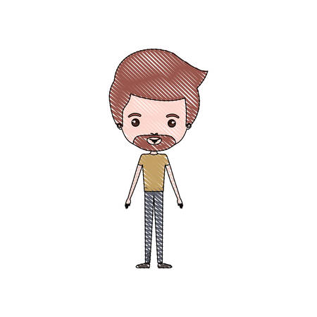 color crayon silhouette caricature thin man in clothes with beard and hairstyle vector illustration